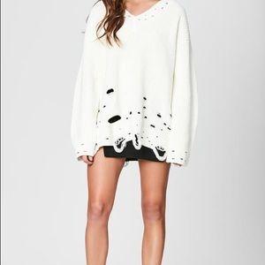 Carmar distressed white sweater